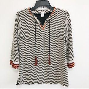 Anthropologie Esley   Women's zigzag V-neck tunic